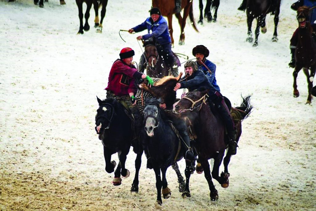 Kok Boru Kyrgyz Traditional Games Festival - Trio of horse riders